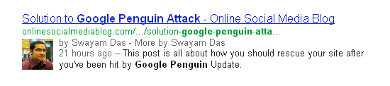 display author information in search results